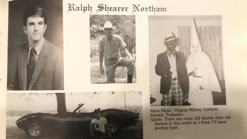 This image shows Virginia Gov. Ralph Northam's page in his 1984 Eastern Virginia Medical School year