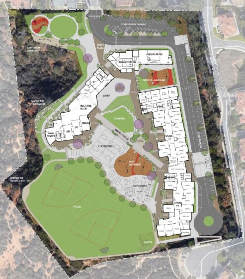 The newest design for the Del Mar Heights School campus.