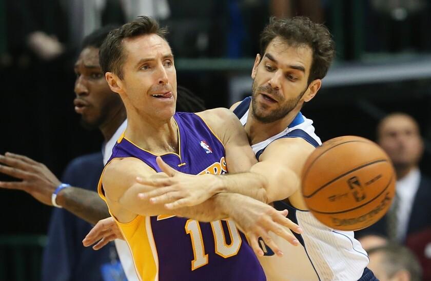 Lakers guard Steve Nash, left, passes the ball against the pressure defense of Dallas Mavericks guard Jose Calderon during a game Wednesday.