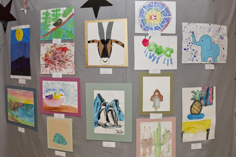 Student artwork on display at the Boys & Girls Club art show