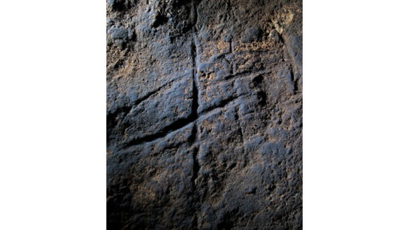 Neanderthal rock engraving from Gorham's Cave, Gibraltar.