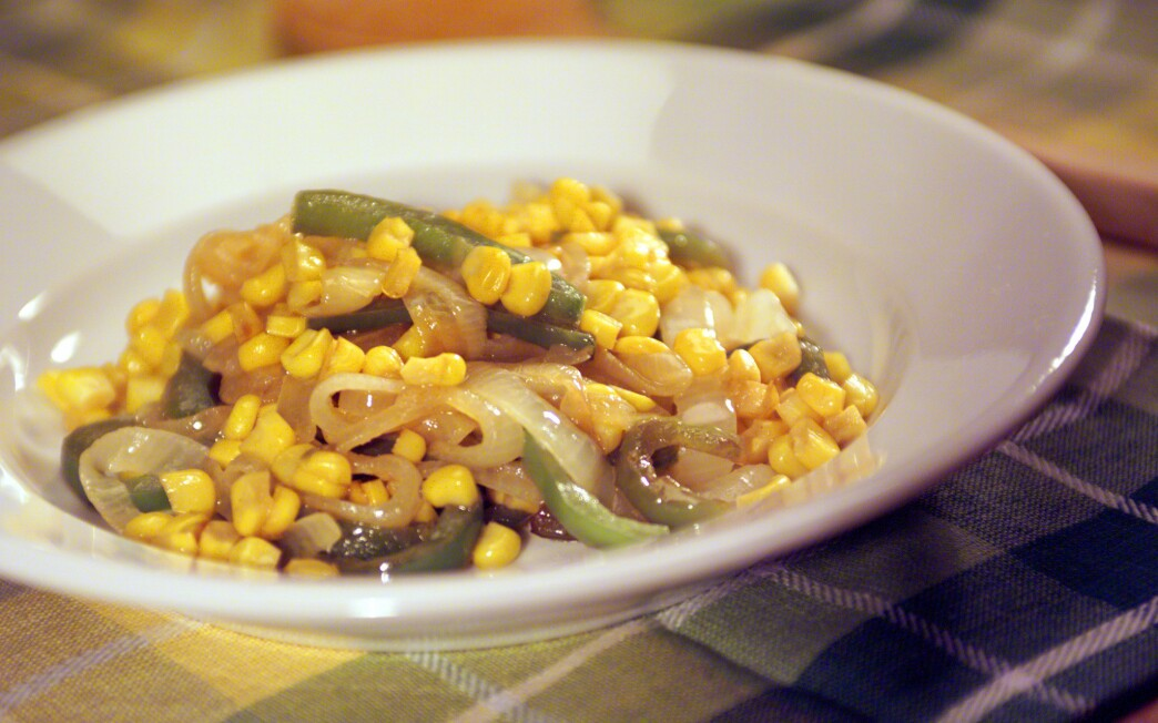 Onions, Corn and Peppers