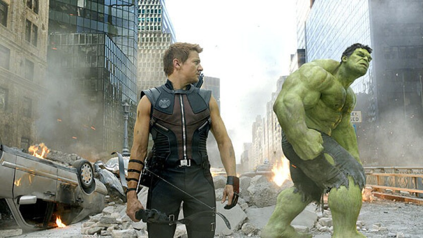 """Jeremy Renner, left, and Mark Ruffalo in the movie """"The Avengers."""""""