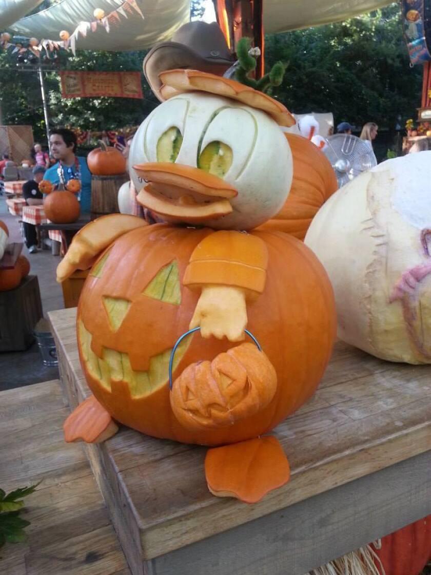 Donald Duck. See this at Disneyland's Halloween Carnival at Big Thunder Ranch Jamboree.