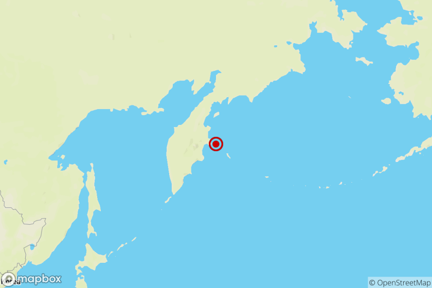 Location of the epicenter of Tuesday evening's quake near Russia's Kamchatka peninsula.