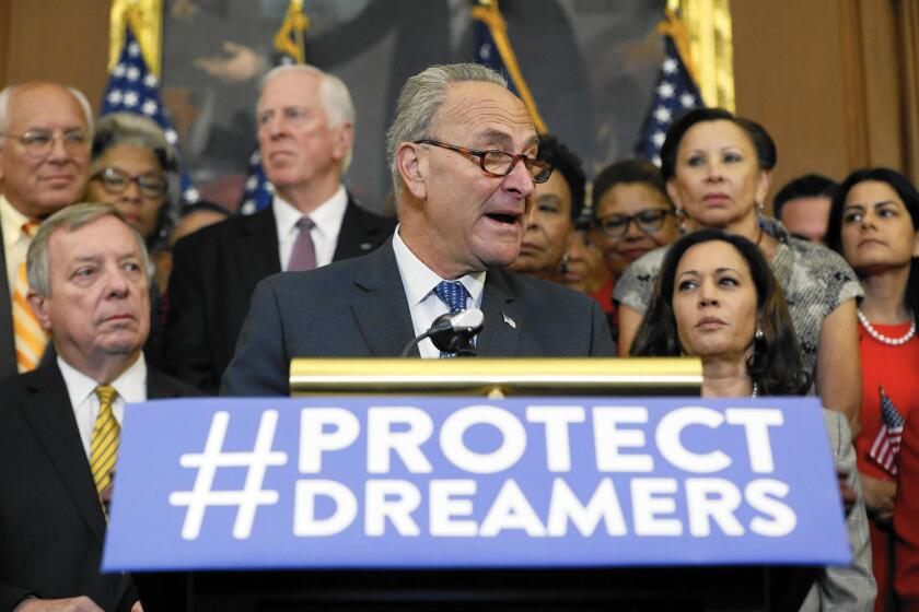 Senate Minority Leader Chuck Schumer speaks at a September 2017 news conference about President Donald Trump's decision to end the Deferred Action for Childhood Arrivals program.