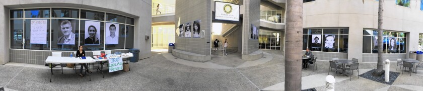 Fourteen large portraits of Iraqi refugees were displayed this week at UC Irvine.