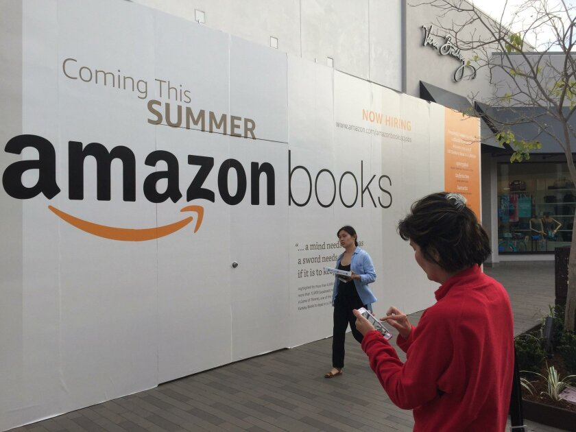 The future home of Amazon's second brick-and-mortar Amazong Books store is at Westfield UTC, an upscale mall in La Jolla. The store will open this summer, according to signage.