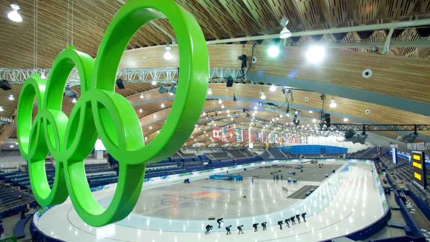The Olympic rings logo hangs over the speedskating venue during the 2010 Winter Olympic Games in Vancouver, Canada.