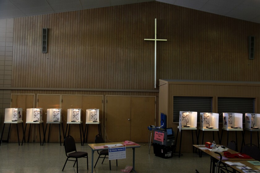 Voting booths inside the East Whittier United Methodist Church await voters in the June 3 primary election.