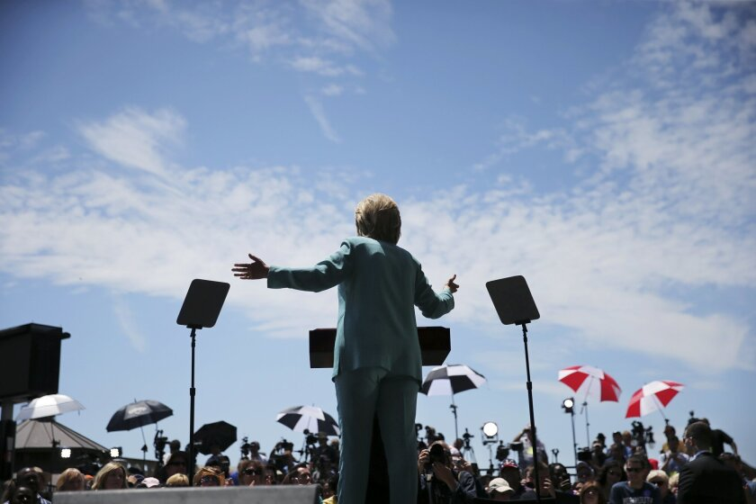 Democratic presidential candidate Hillary Clinton speaks on the Boardwalk in Atlantic City, N.J., Wednesday, July 6, 2016.  (AP Photo/Mel Evans)