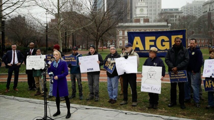 Rep. Mary Gay Scanlon (D-Pa.) speaks during a federal workers union demonstration against the partial government shutdown at Independence Hall in Philadelphia.