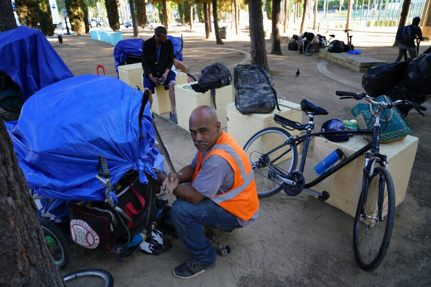Johnnie Joyce, 43 from National City has lived on the streets for almost four years. For now he spends the afternoon at the Children's Park in downtown, but before each night he must leave the park and look for a place to sleep.