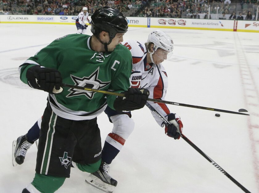 Washington Capitals center Nicklas Backstrom (19) and Dallas Stars left wing Jamie Benn (14) skate for the puck during the first period of an NHL hockey game Saturday, Feb. 13, 2016, in Dallas. (AP Photo/LM Otero)