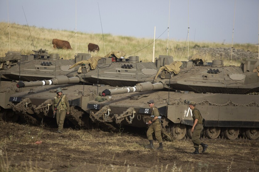 Israeli soldiers in the Golan Heights in 2018