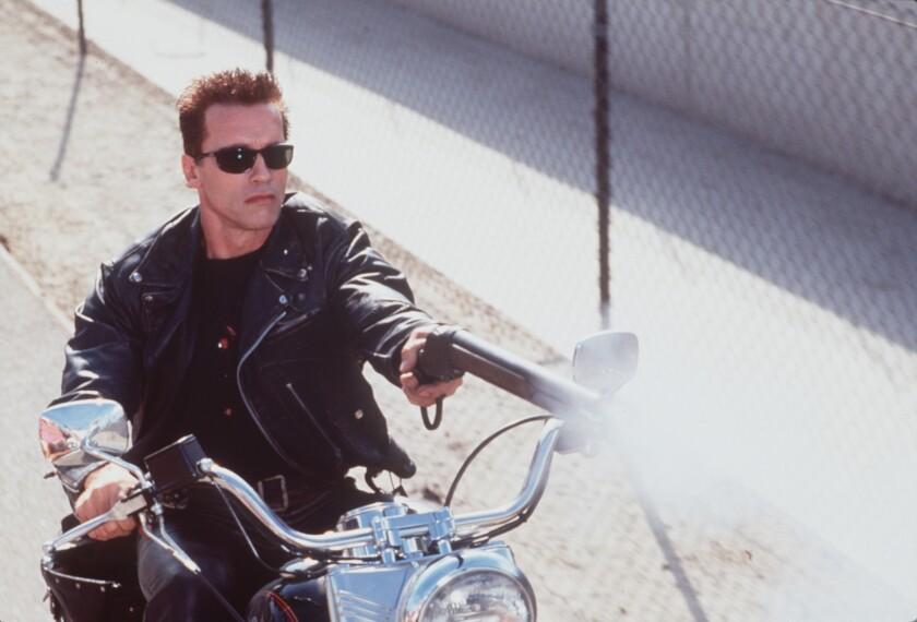 "Arnold Schwarzenegger in the movie ""Terminator 2: Judgment Day."""