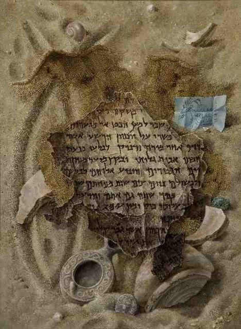 This Aaron Bohrod painting of the  Dead Sea scrolls was on the cover of TIME Magazine and also displayed at the San Diego Natural History Museum exhibit of the Dead Sea scrolls.