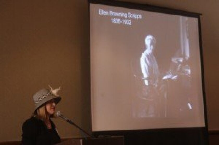 Molly McClain gives a presentation on Ellen Browning Scripps.