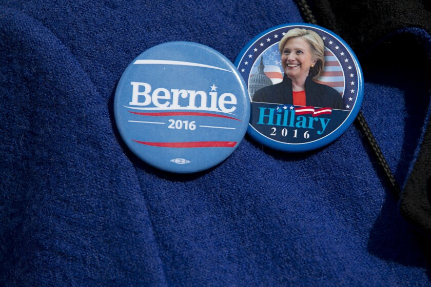 Bernie and Hillary buttons