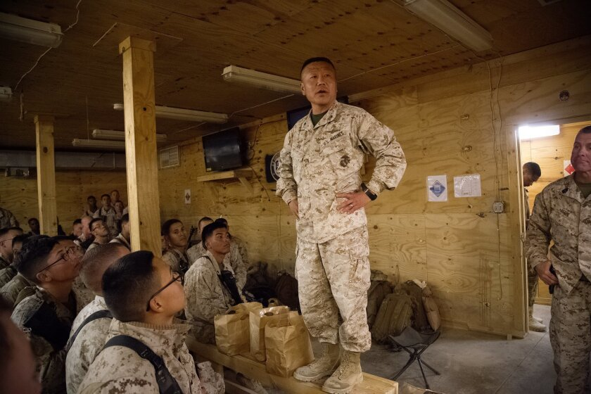 Before their departure out of Afghanistan, Brig Gen Daniel D. Yoo spoke to the Marines about their historic role as being one of the last Marines out of Camp Leatherneck in Helmand Province.