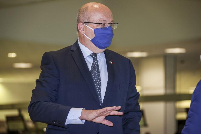 Ambassador Jean-Pierre Thebault walks through Sydney Airport in Australia
