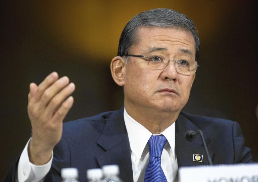 Veterans Affairs Secretary Eric Shinseki has been under pressure to resign.