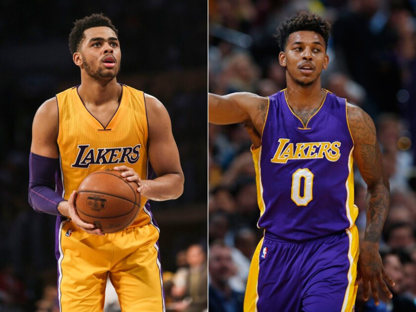 A secretly taped conversation between D'Angelo Russell, left, and Nick Young, right, has caused some of the rookie player's teammates to distance themselves from him.
