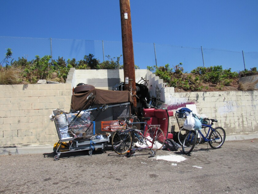 One of several homeless encampments along North Avenue parallel to state Route 94 in Lemon Grove.
