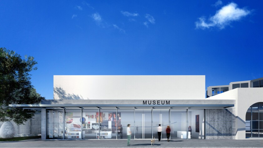 An architectural rendering of MCASD's redesigned entry pavilion.