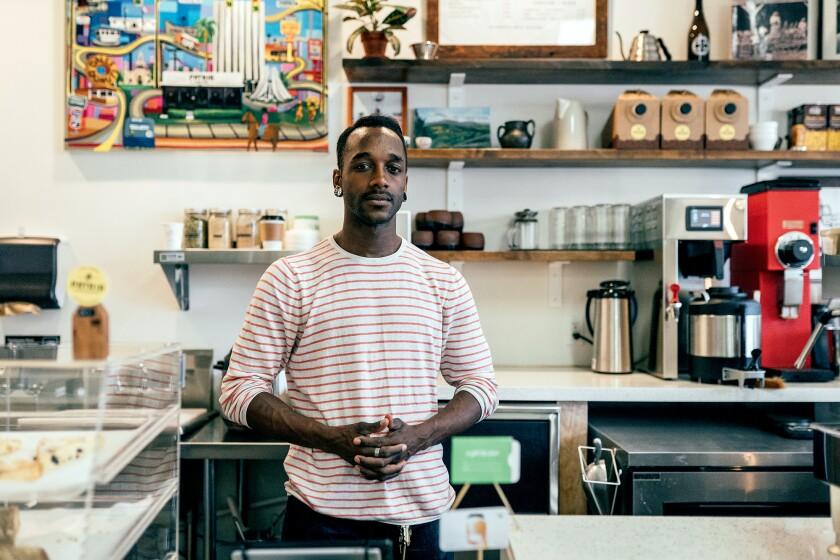 Yoshawn Smith is lead barista at Patria Coffee in Compton.