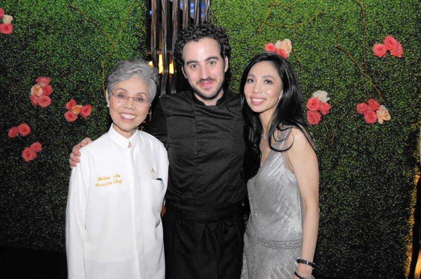 Helene An, Daniel Rose and Elizabeth An present the cuisine of AnQi at The James Beard Foundation Dinner in NYC.