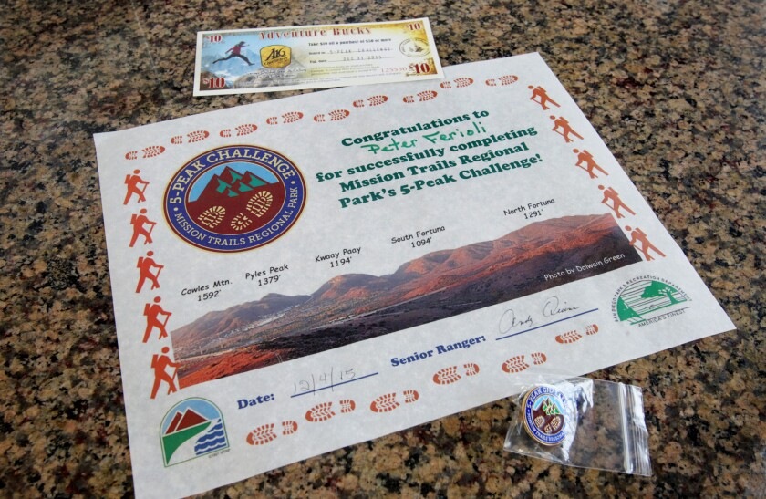 By completing a 5-peak Challenge hikers who take and turn in selfies at each peak can receive a certificate and pin from Mission Trails Regional Park.