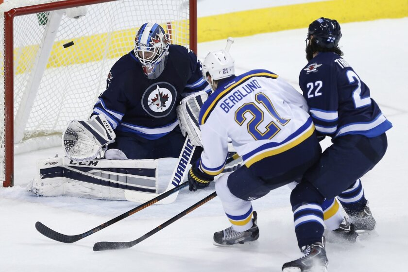 St. Louis Blues' Patrik Berglund (21) scores on Winnipeg Jets goaltender Michael Hutchinson (34) as Chris Thorburn (22) defends during the second period of an NHL hockey game Thursday, Feb. 26, 2015, in Winnipeg, Manitoba. (AP Photo/The Canadian Press, John Woods)
