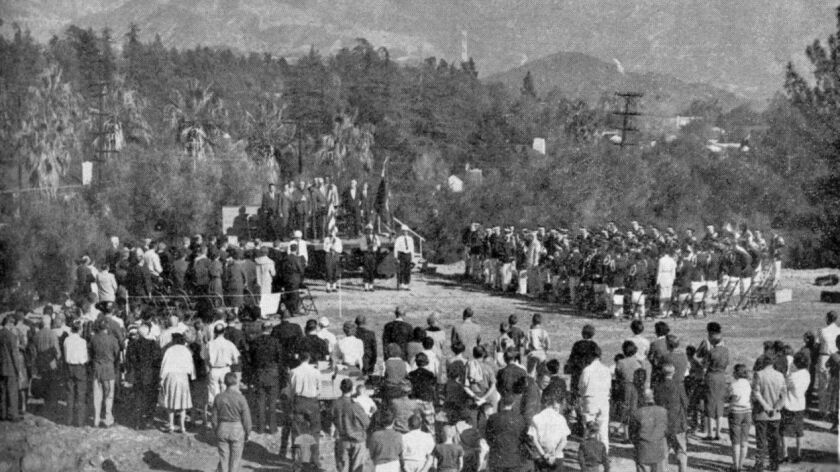 YMCA of the Foothills is marking the 60th anniversary of the 1958 incorporation of its Crescenta-Cañada YMCA. Above, community members attend the groundbreaking ceremony in January 1961 for the Y at 1930 Foothill Blvd., La Cañada.