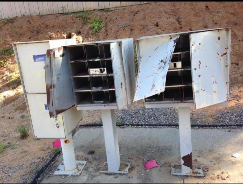 Thieves damage U.S. postal boxes and steal mail in San Diego Country Estates Monday night.