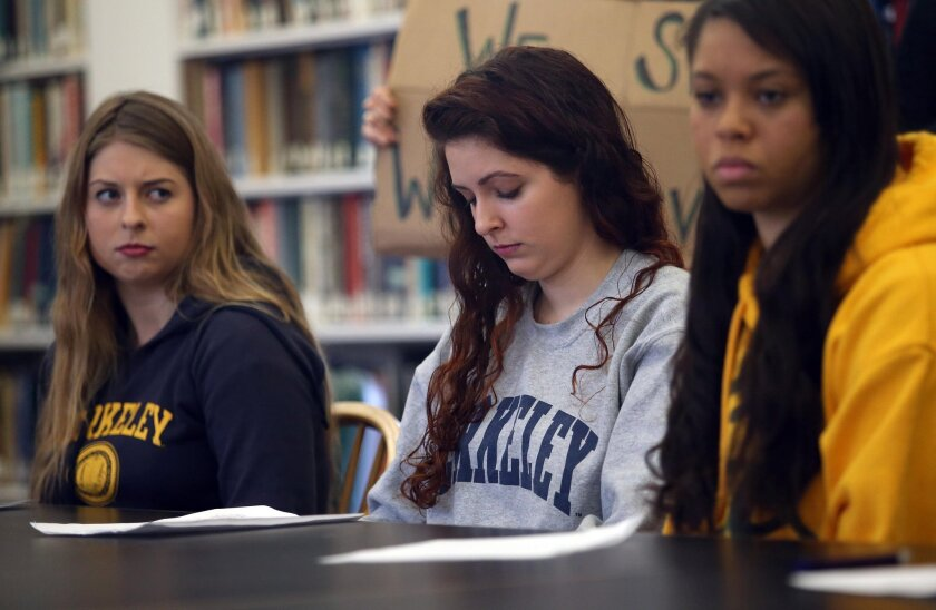 UC Berkeley students are seen at a press conference in February after filing a federal complaint against the school, claiming Cal violated federal anti-discrimination laws by failing to protect them against sexual harassment and assault.
