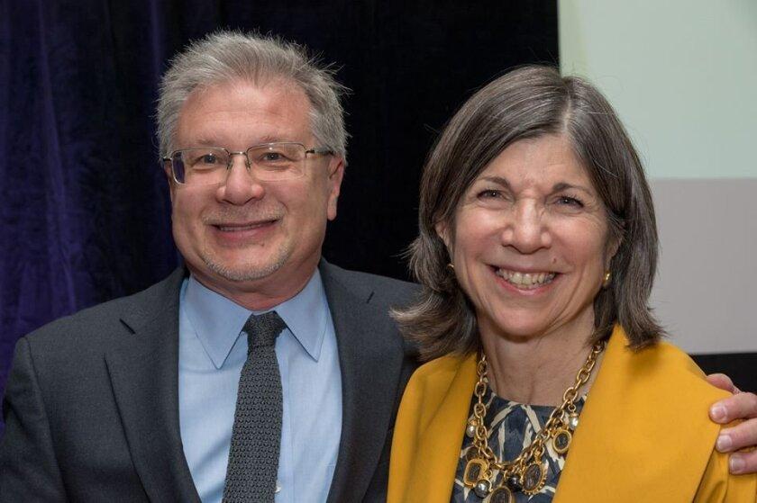 UC San Diego professor Seth Lerer with guest author Anna Quindlen.