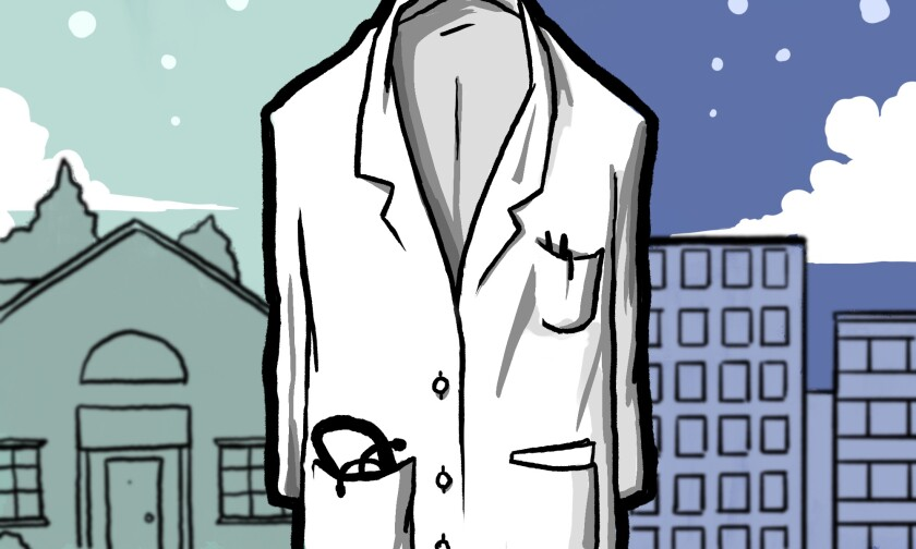 Illustration showing a doctor's coat caught between two worlds.