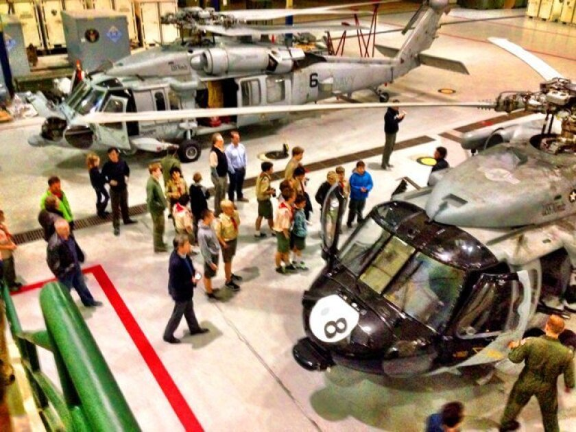La Jolla Boy Scouts from Troop 4 tour Naval Base Coronado's helicopter facilities in January 2015.