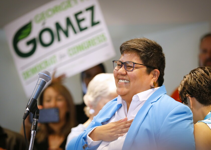 San Diego City Council President Georgette Gómez, a Democrat, kicked off her campaign for U.S. Congress, to replace retiring Representative Susan Davis in 2020, surrounded by supporters as she made the announcement at the United Domestic Workers Union offices, September 14, 2019, in San Diego, California.