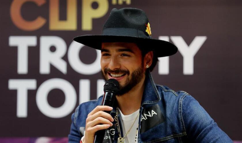 El cantante colombiano Maluma habla durante una rueda de prensa. EFE/Archivo