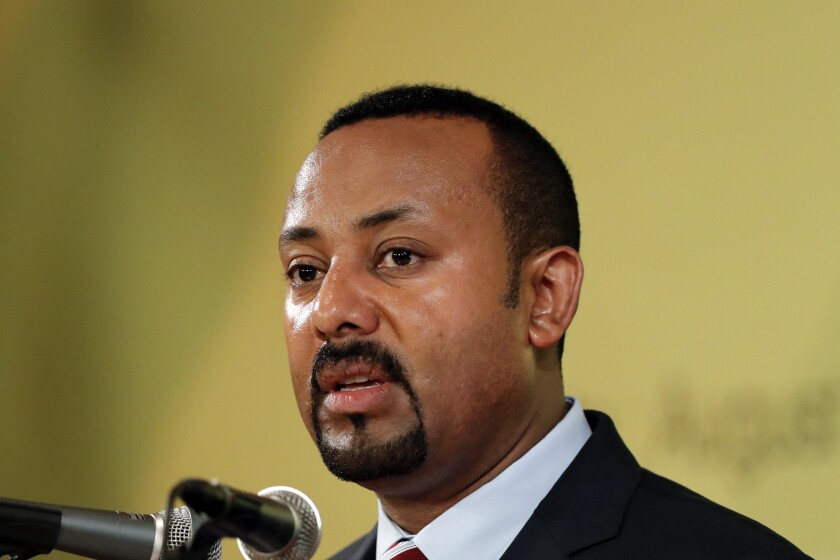 """FILE - In this Tuesday, Aug. 27, 2019 file photo, Ethiopian Prime Minister Abiy Ahmed speaks during the Ethiopia-Korea Business Forum in Seoul, South Korea. The director of the Norwegian Nobel Institute says it is """"highly problematic"""" that the 2019 winner of the Nobel Peace Prize won't attend any event where he could publicly be asked questions. Olav Njoelstad on Wednesday, Dec. 4, 2019 said organizers """"had wished that (Ethiopian Prime Minister) Abiy Ahmed would have agreed to meet the Norwegian and international press."""" (AP Photo/Lee Jin-man, file)"""