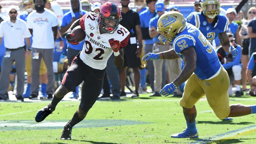 Aztecs sophomore receiver Kobe Smith runs after making a catch against UCLA in September 2019. Smith made seven catches on the day and scored a touchdown in SDSU's win.