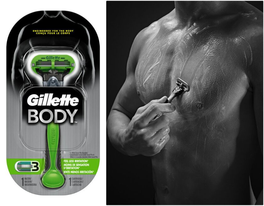 Gillette's Body Razor in its package (left) and in action (right), is a green-and-black manned-up version of the Procter & Gamble brand's pink Venus razor for women.