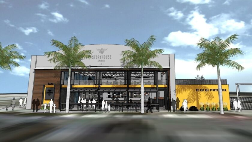 An artist's rendering of Storyhouse Spirits, a two-story urban distillery and restaurant opening in January in East Village. It's one of the most anticipated new San Diego County restaurant projects of 2019.