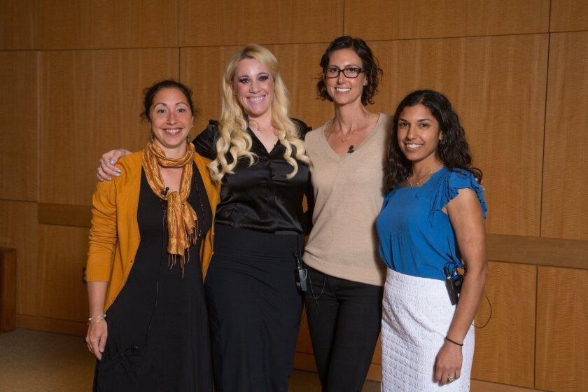 Salk research associate Amandine Chaix, assistant professor Janelle Ayres, research associates Maryam Ahmadian and Sheila Rao