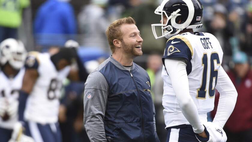 Rams coach Sean McVay and quarterback Jared Goff talk before a game against the Seattle Seahawks.