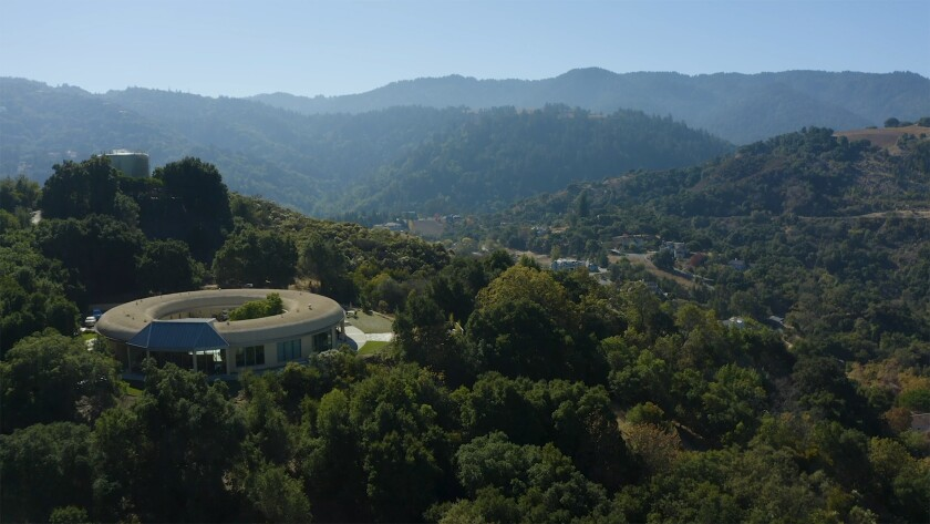 An aerial photo of the Summit Estate Recovery Center inpatient treatment facility in the hills of Saratoga. Calif.