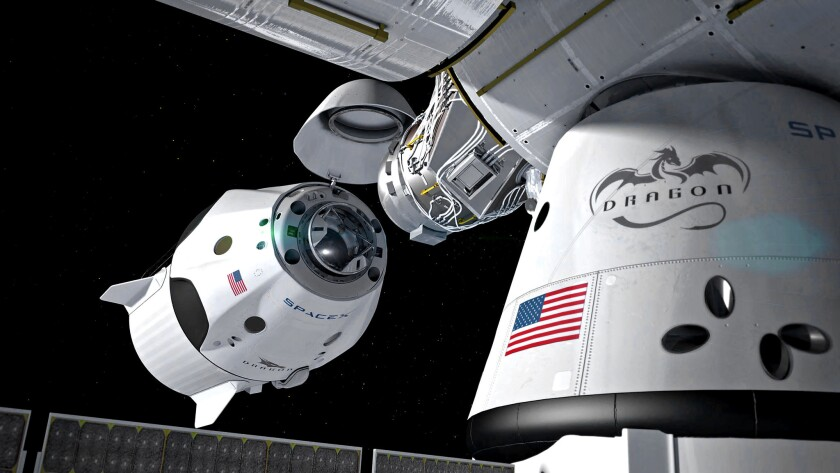 In this rendering, SpaceX's Dragon 2 capsule docks autonomously with the International Space Station