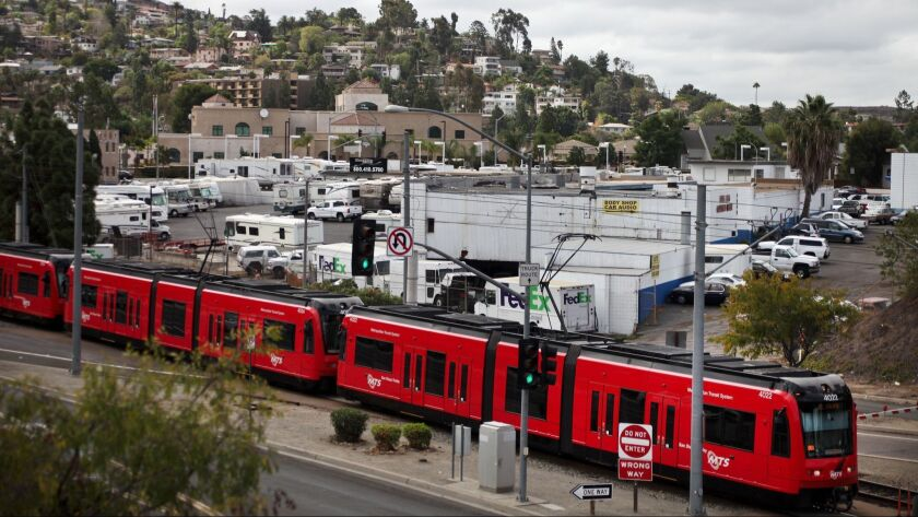 The site for Park Station at the Crossroads of La Mesa is near the San Diego Trolley line. The devel